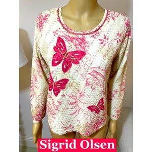 Sigrid Olsen, Butterfly embroidered Top Sz M
